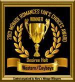 2013 Ménage Romances Fan's Choices Award Winner for Western/Cowboys